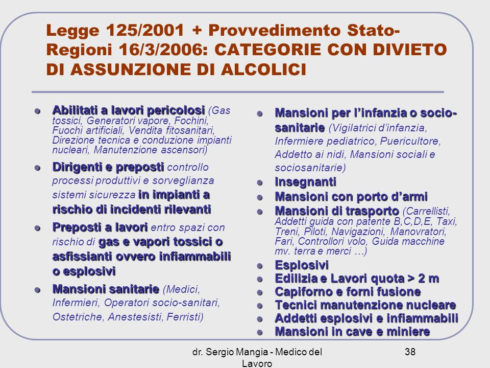 dr. Sergio Mangia - Medico del Lavoro