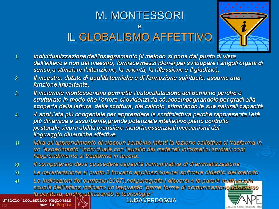 M. MONTESSORI e IL GLOBALISMO AFFETTIVO