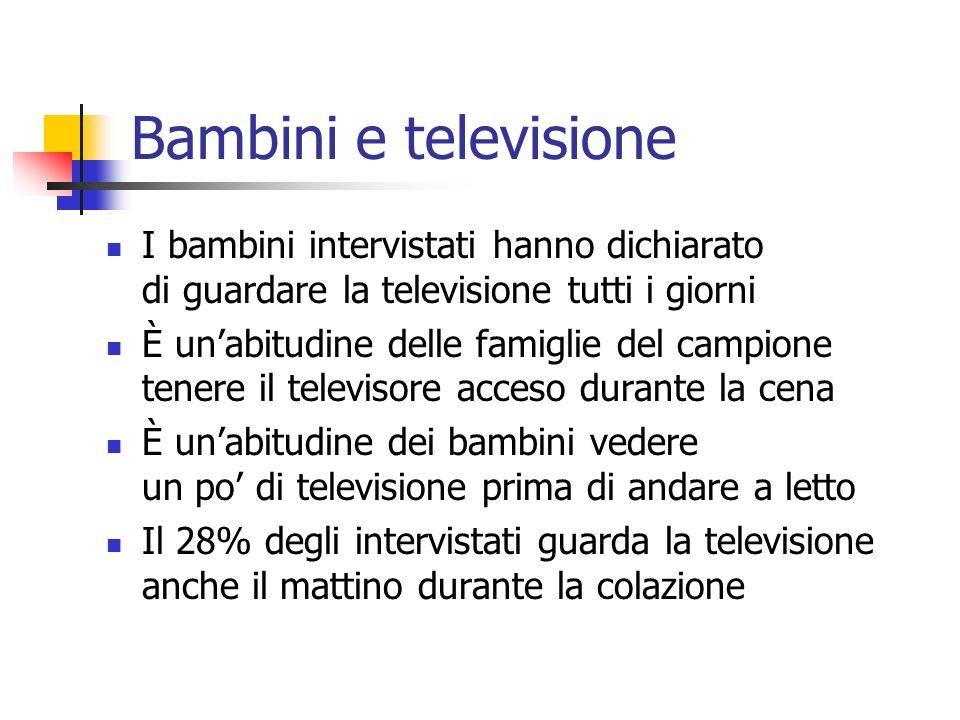 Bambini e televisione I bambini intervistati hanno dichiarato di guardare la televisione tutti i giorni.