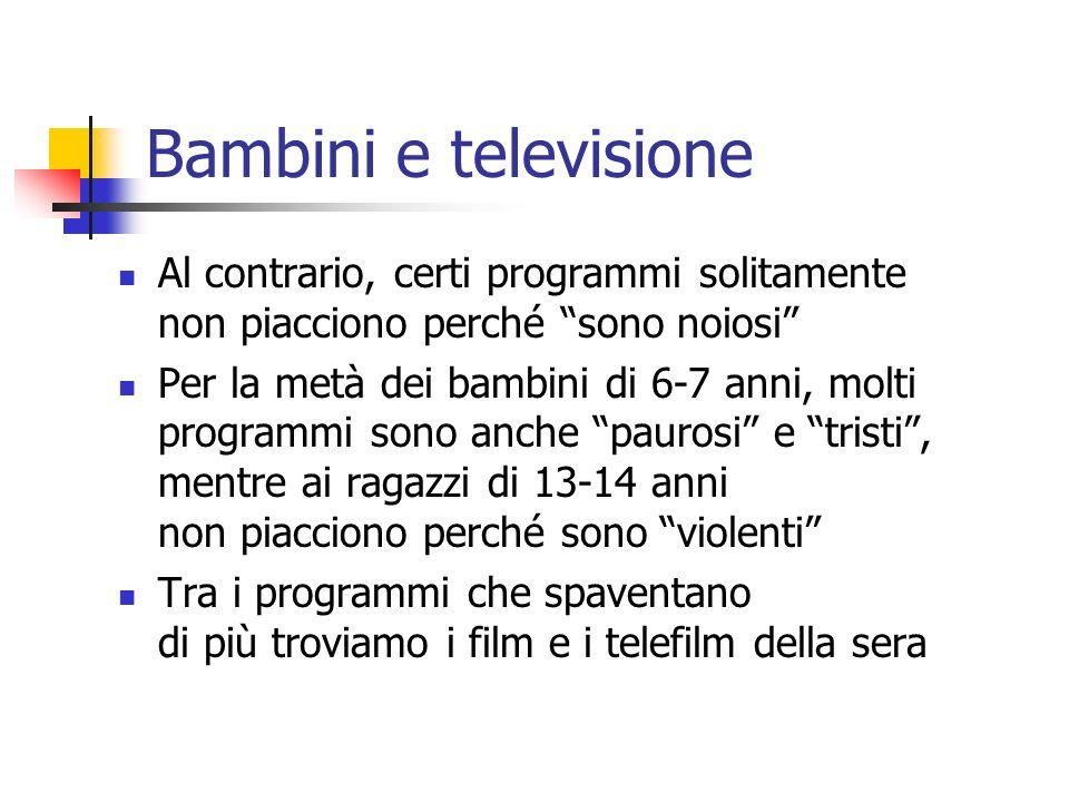 Bambini e televisione Al contrario, certi programmi solitamente non piacciono perché sono noiosi
