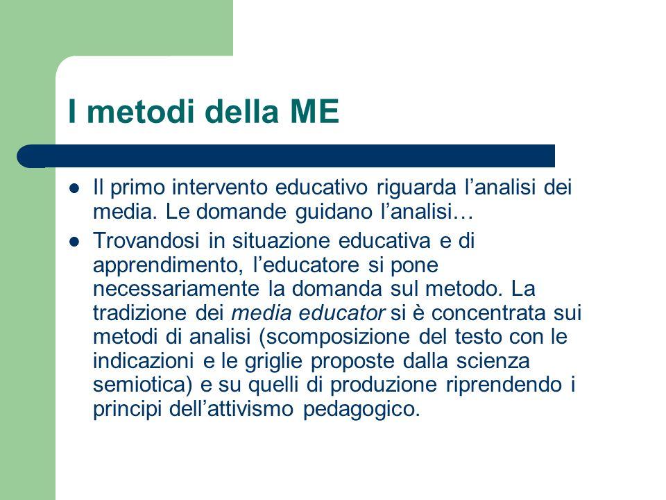 I metodi della ME Il primo intervento educativo riguarda l'analisi dei media. Le domande guidano l'analisi…