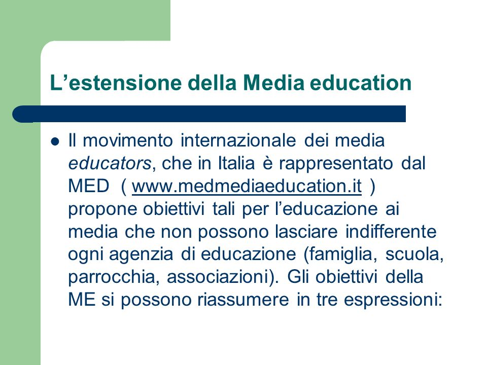 L'estensione della Media education