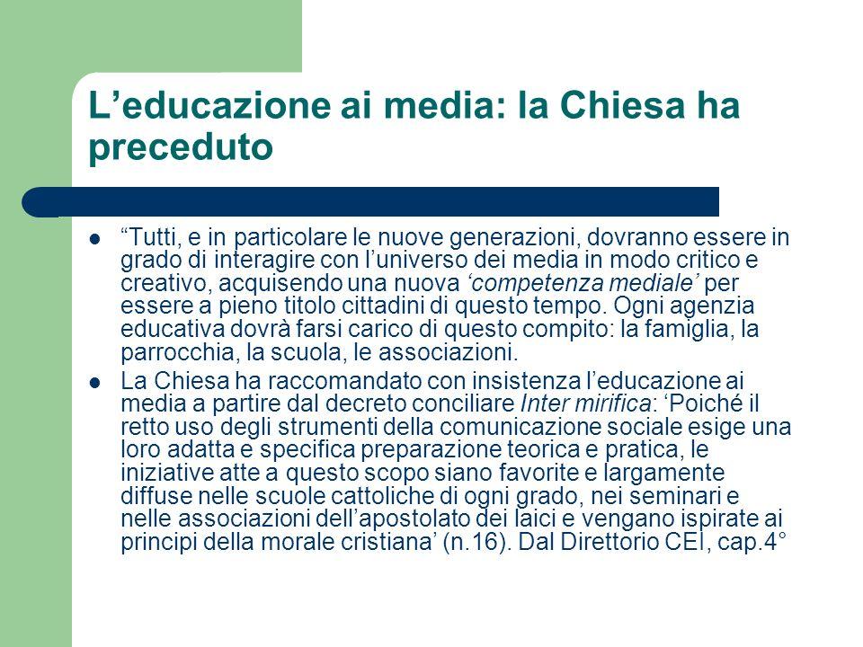L'educazione ai media: la Chiesa ha preceduto