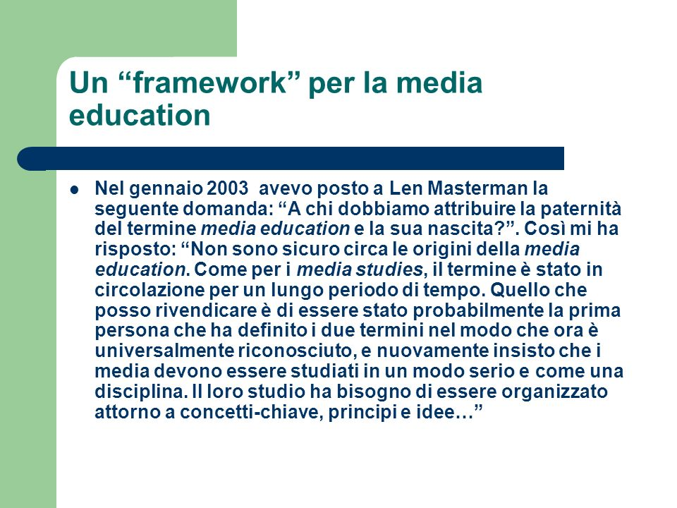 Un framework per la media education