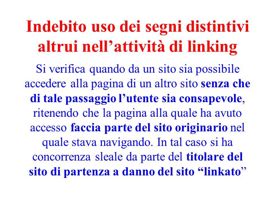 Indebito uso dei segni distintivi altrui nell'attività di linking
