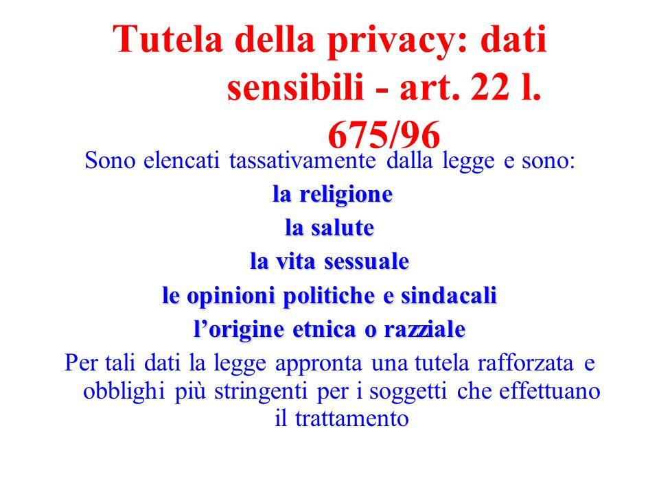 Tutela della privacy: dati sensibili - art. 22 l. 675/96