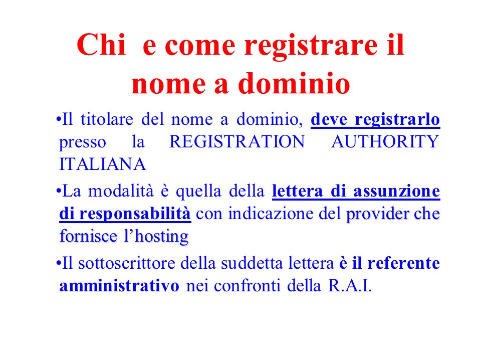 Chi e come registrare il nome a dominio