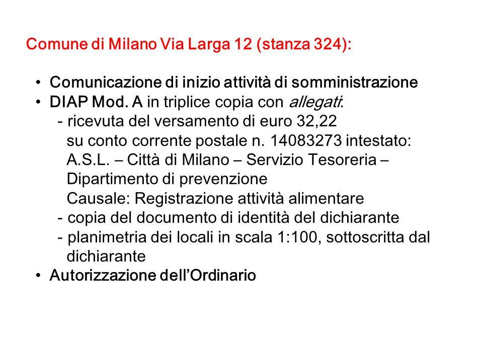 Comune di Milano Via Larga 12 (stanza 324):