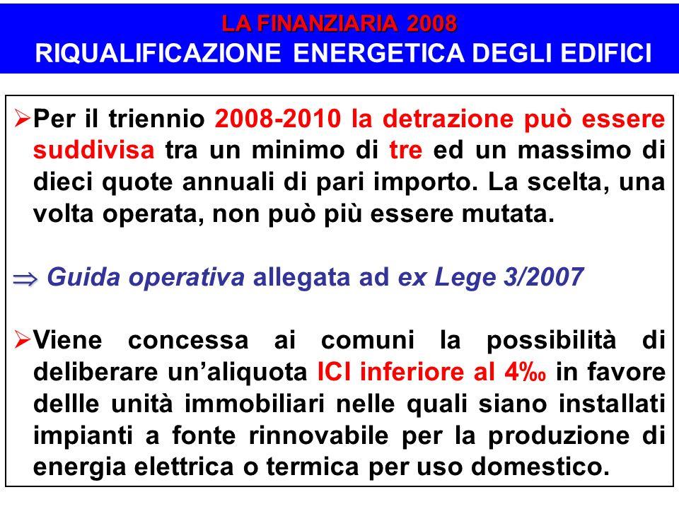 LA FINANZIARIA 2008 RIQUALIFICAZIONE ENERGETICA DEGLI EDIFICI