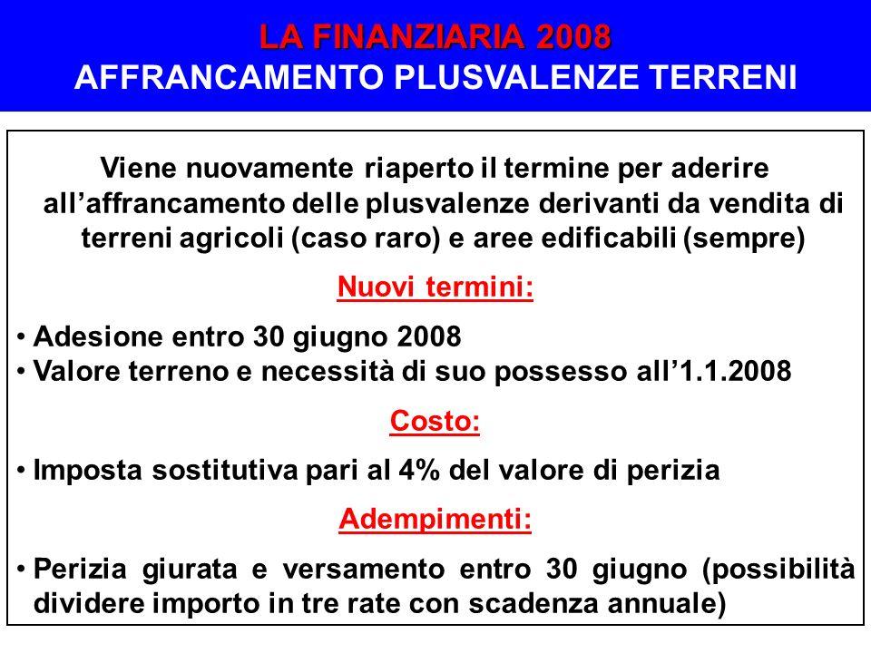 LA FINANZIARIA 2008 AFFRANCAMENTO PLUSVALENZE TERRENI