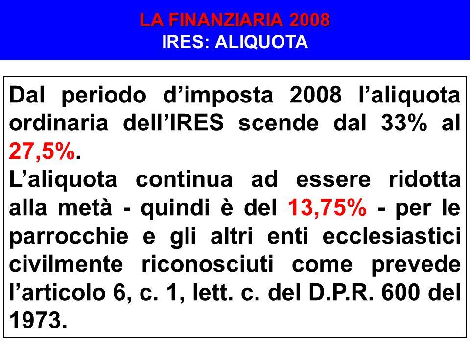 LA FINANZIARIA 2008 IRES: ALIQUOTA