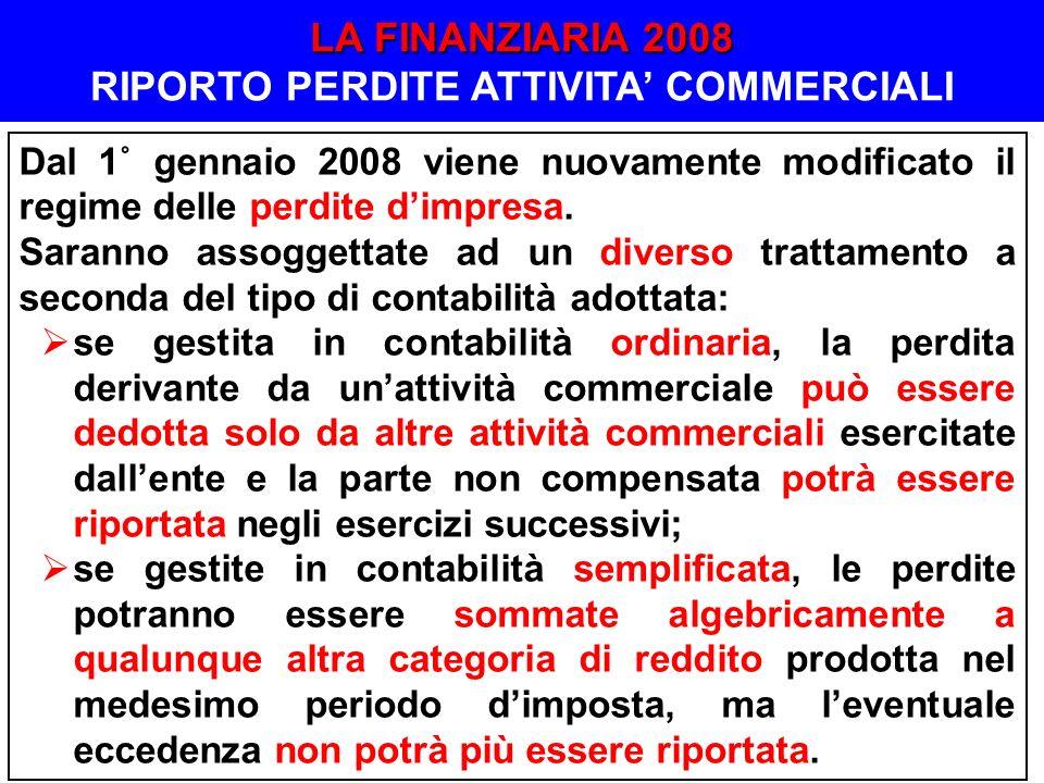 LA FINANZIARIA 2008 RIPORTO PERDITE ATTIVITA' COMMERCIALI