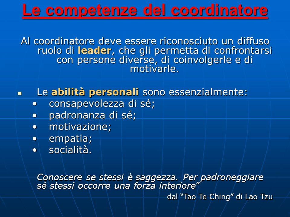 Le competenze del coordinatore