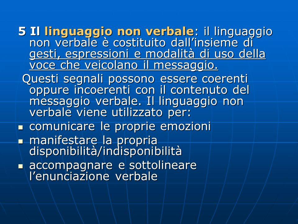 5 Il linguaggio non verbale: il linguaggio non verbale è costituito dall'insieme di gesti, espressioni e modalità di uso della voce che veicolano il messaggio.