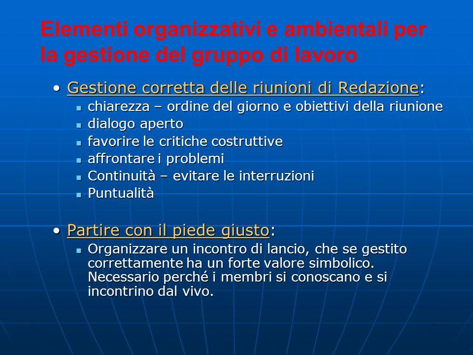 Elementi organizzativi e ambientali per la gestione del gruppo di lavoro