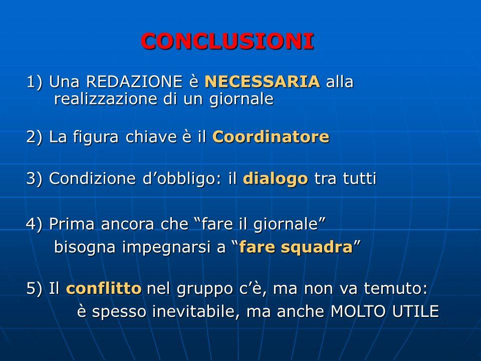 CONCLUSIONI 1) Una REDAZIONE è NECESSARIA alla realizzazione di un giornale. 2) La figura chiave è il Coordinatore.