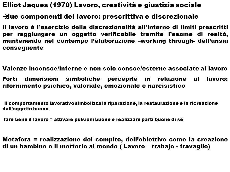 Elliot Jaques (1970) Lavoro, creatività e giustizia sociale