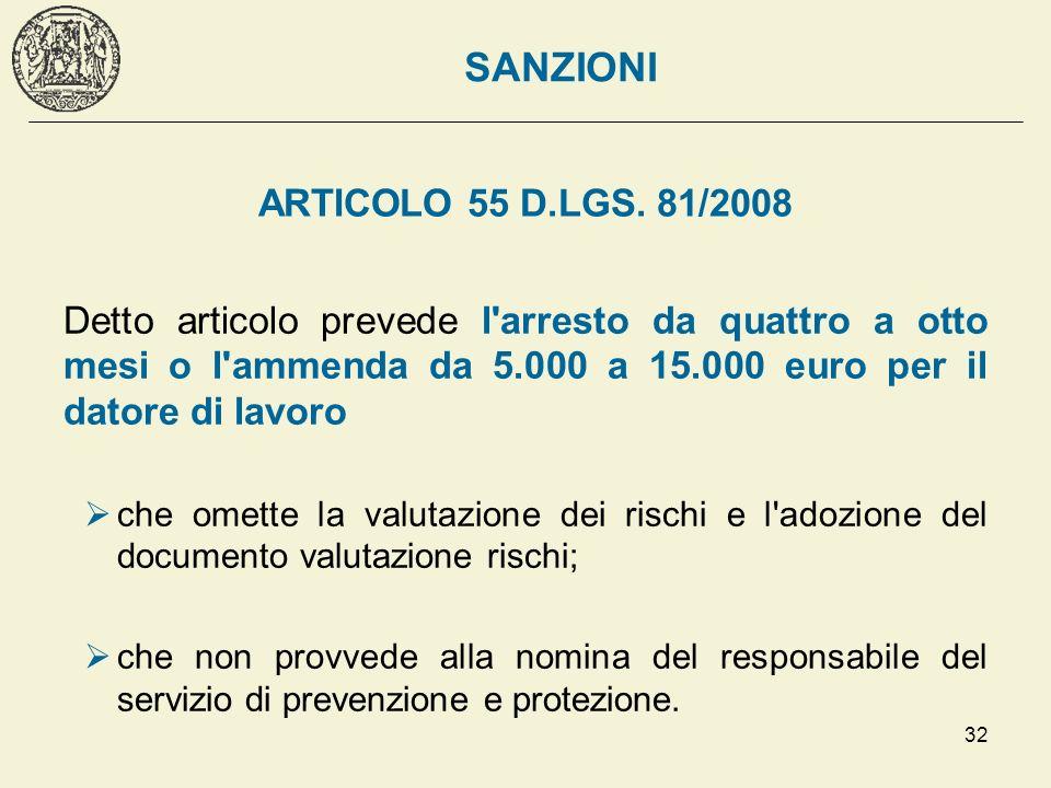 SANZIONI ARTICOLO 55 D.LGS. 81/2008