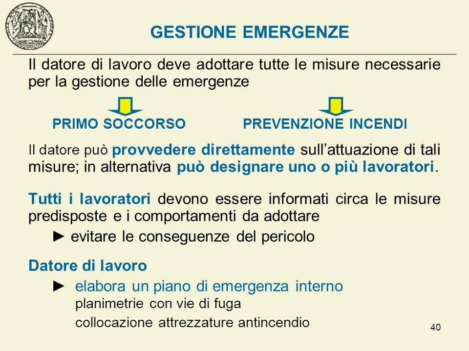 GESTIONE EMERGENZE Il datore di lavoro deve adottare tutte le misure necessarie per la gestione delle emergenze.
