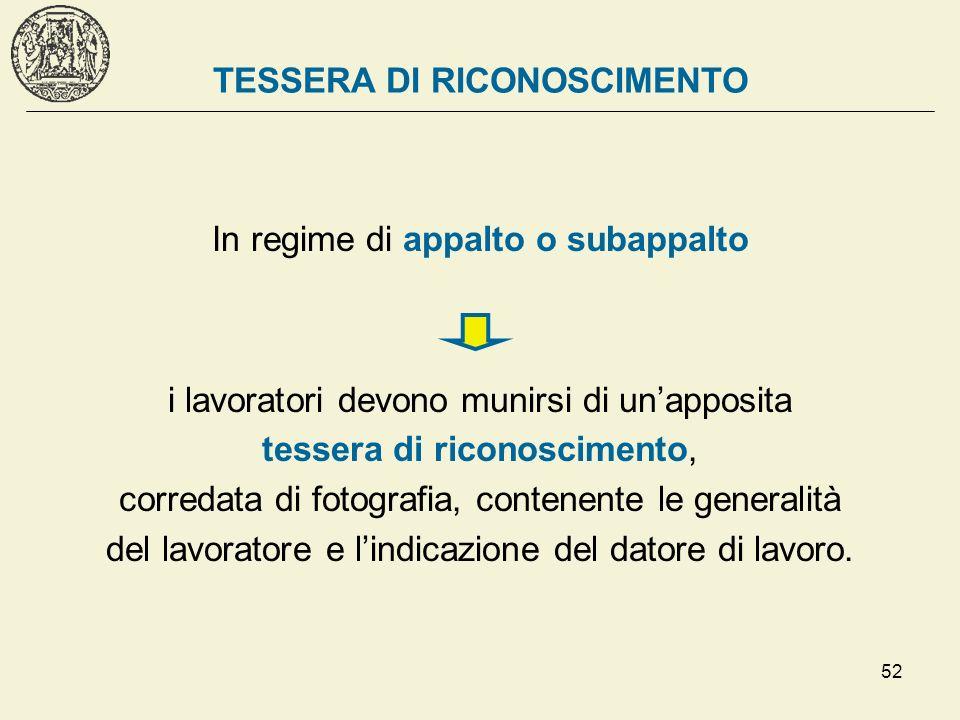 TESSERA DI RICONOSCIMENTO