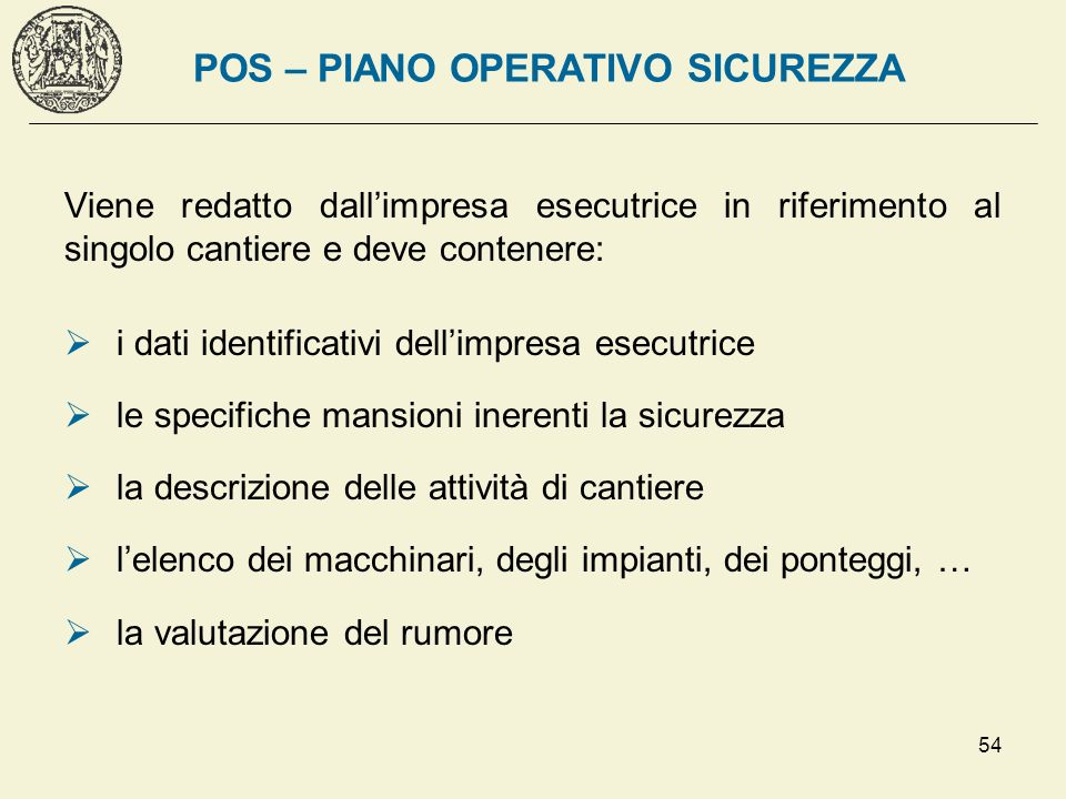 POS – PIANO OPERATIVO SICUREZZA