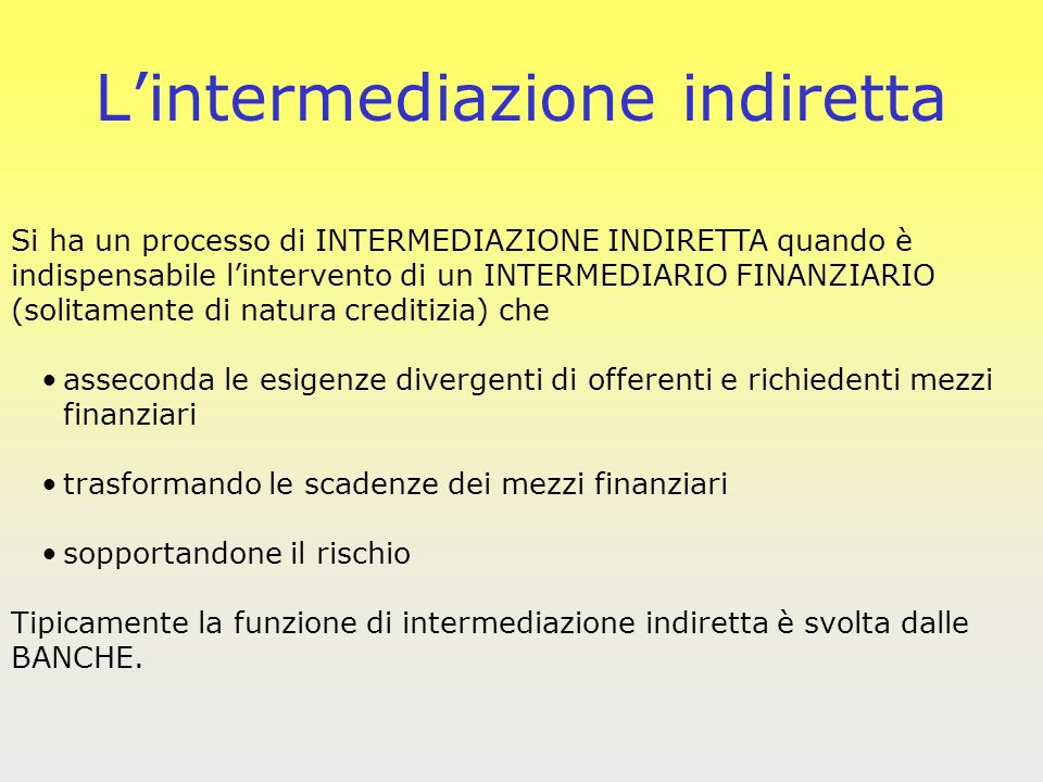L'intermediazione indiretta
