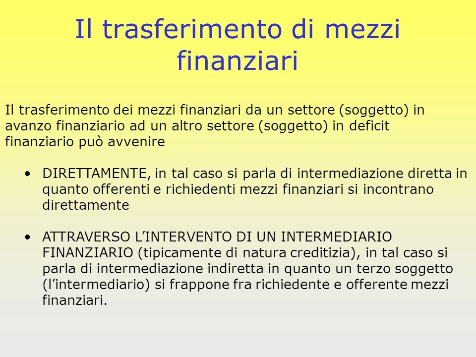 Il trasferimento di mezzi finanziari