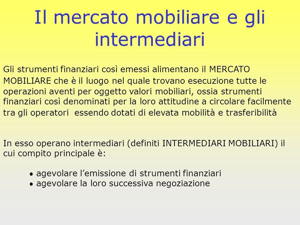 Il mercato mobiliare e gli intermediari