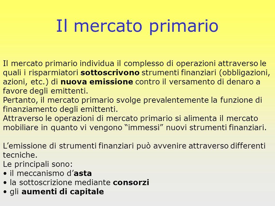 Il mercato primario Il mercato primario individua il complesso di operazioni attraverso le.