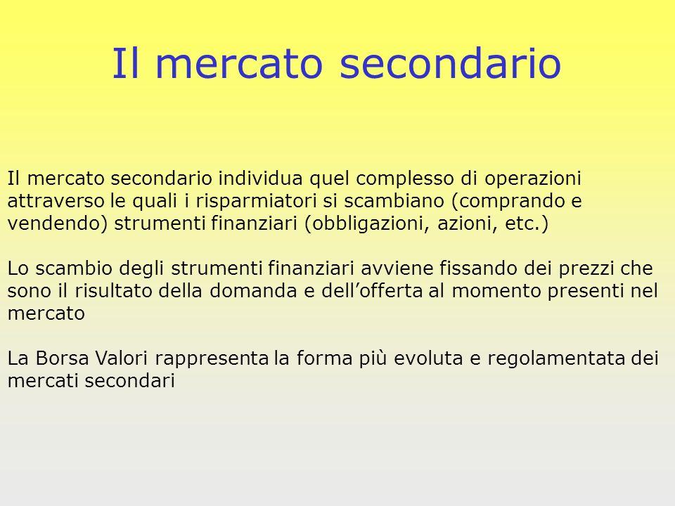 Il mercato secondario Il mercato secondario individua quel complesso di operazioni. attraverso le quali i risparmiatori si scambiano (comprando e.