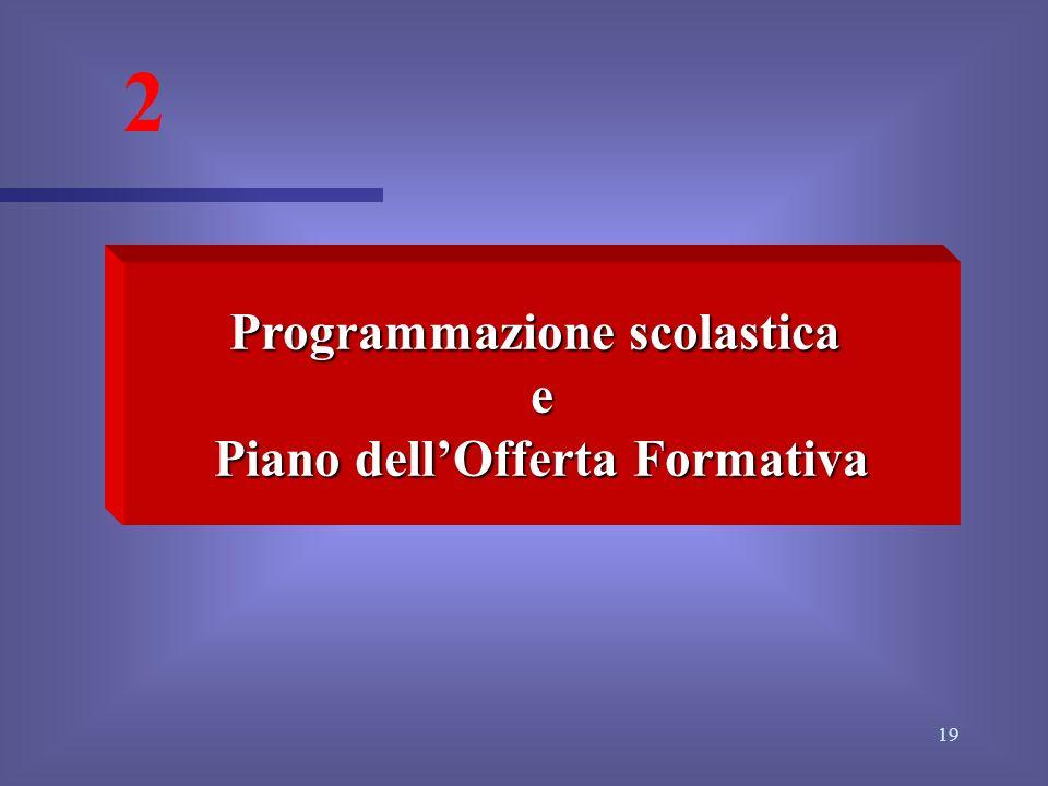 Programmazione scolastica Piano dell'Offerta Formativa