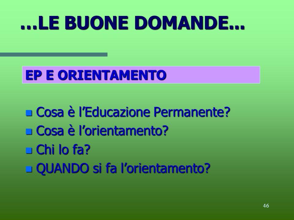 …LE BUONE DOMANDE... EP E ORIENTAMENTO Cosa è l'Educazione Permanente