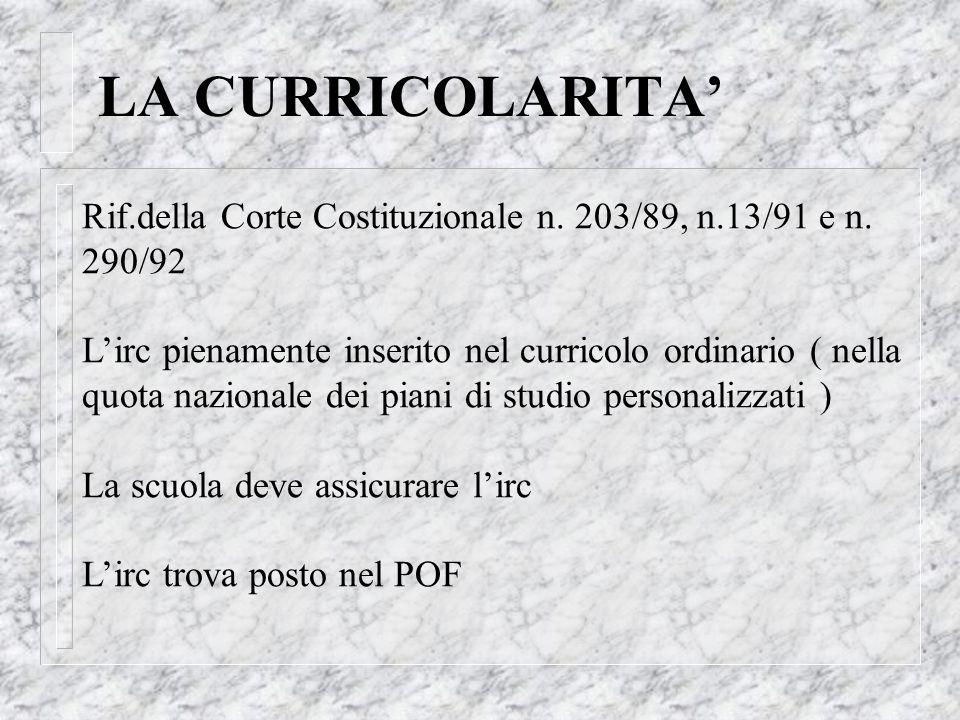 LA CURRICOLARITA' Rif.della Corte Costituzionale n. 203/89, n.13/91 e n. 290/92.