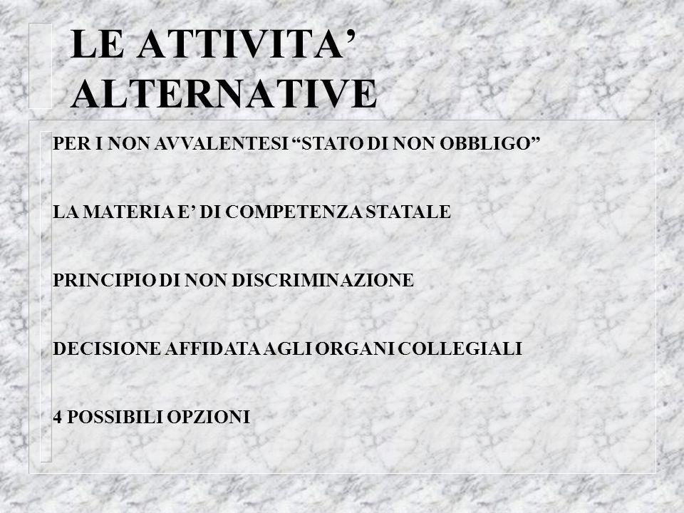 LE ATTIVITA' ALTERNATIVE