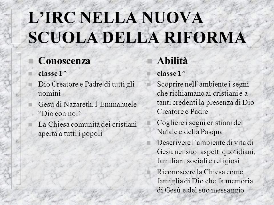 L'IRC NELLA NUOVA SCUOLA DELLA RIFORMA