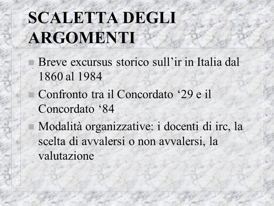 SCALETTA DEGLI ARGOMENTI