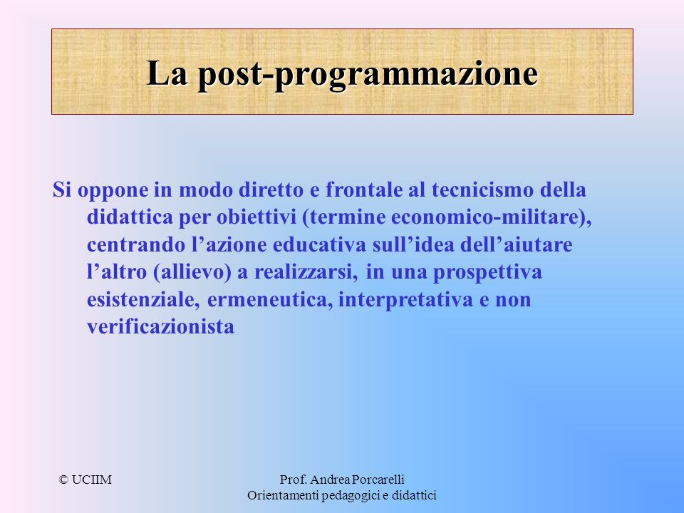 La post-programmazione