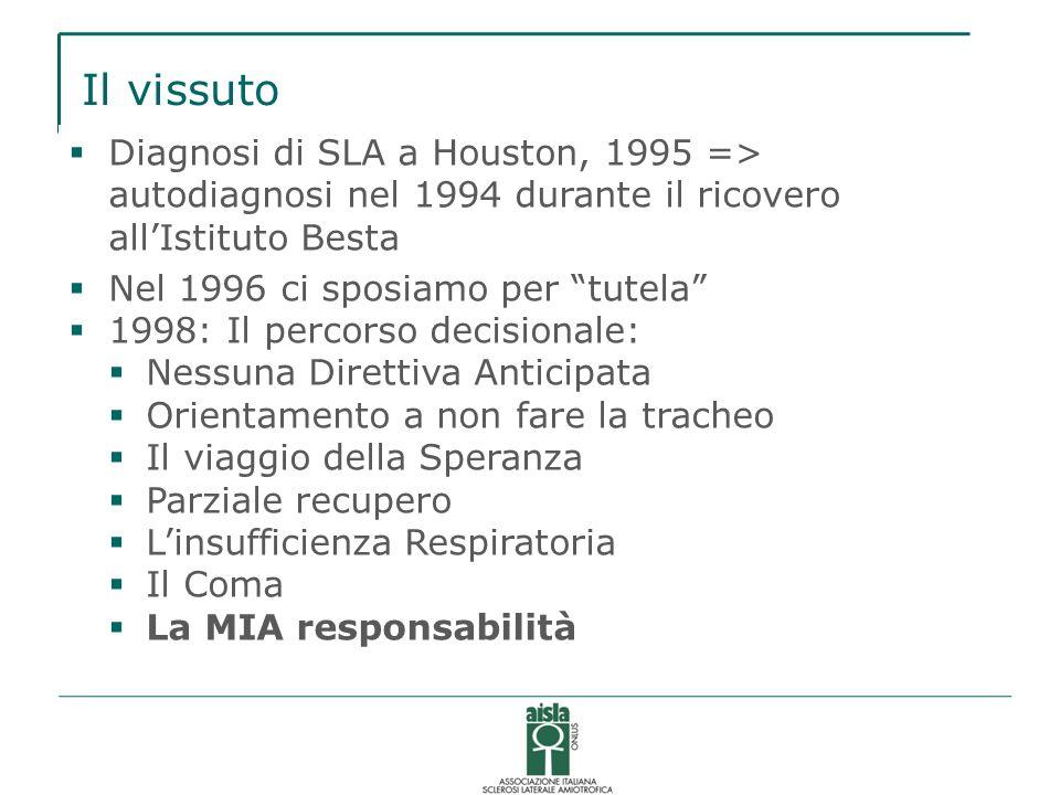 Il vissuto Diagnosi di SLA a Houston, 1995 => autodiagnosi nel 1994 durante il ricovero all'Istituto Besta.