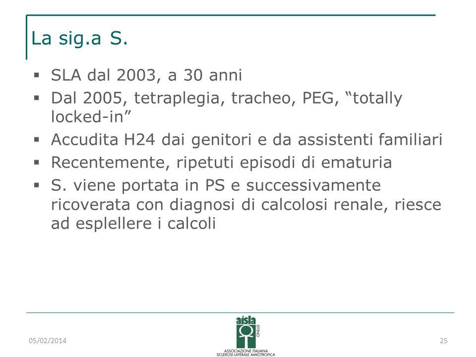 La sig.a S.SLA dal 2003, a 30 anni. Dal 2005, tetraplegia, tracheo, PEG, totally locked-in Accudita H24 dai genitori e da assistenti familiari.