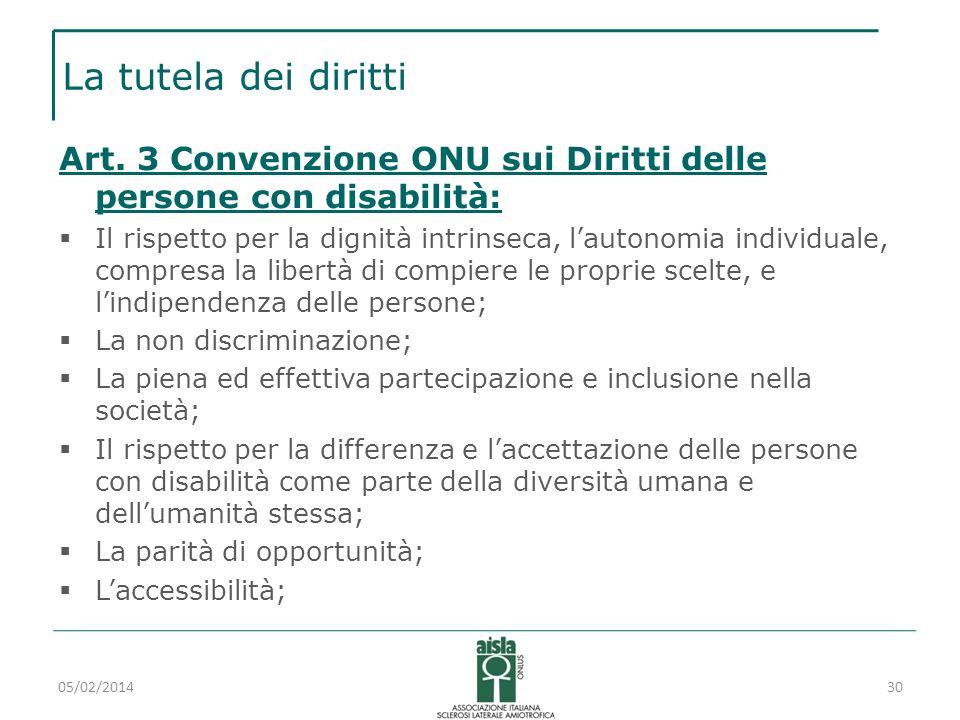 La tutela dei diritti Art. 3 Convenzione ONU sui Diritti delle persone con disabilità: