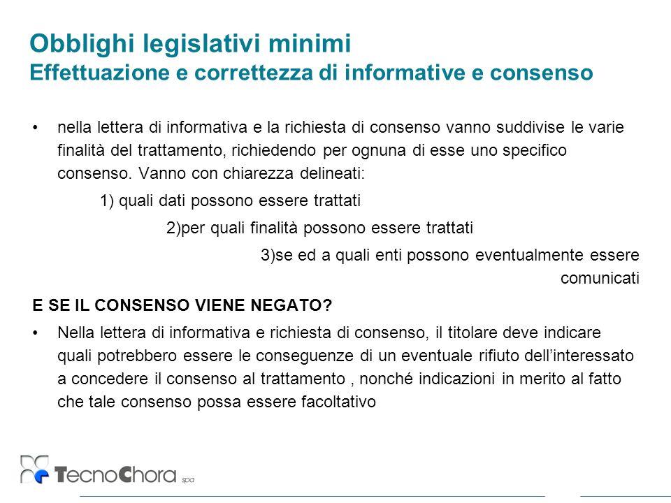Obblighi legislativi minimi Effettuazione e correttezza di informative e consenso