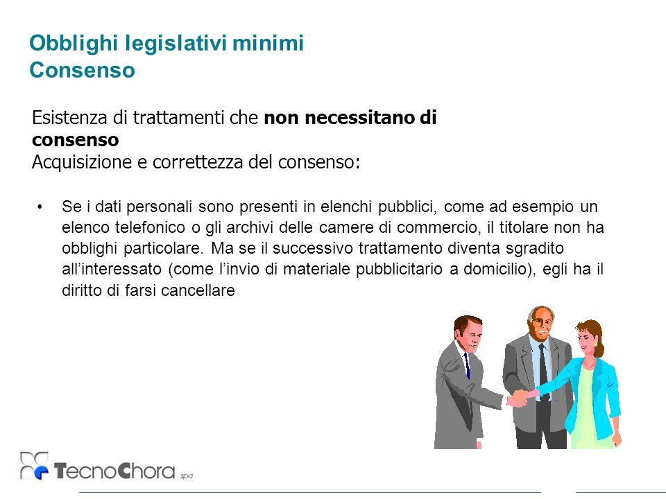 Obblighi legislativi minimi Consenso