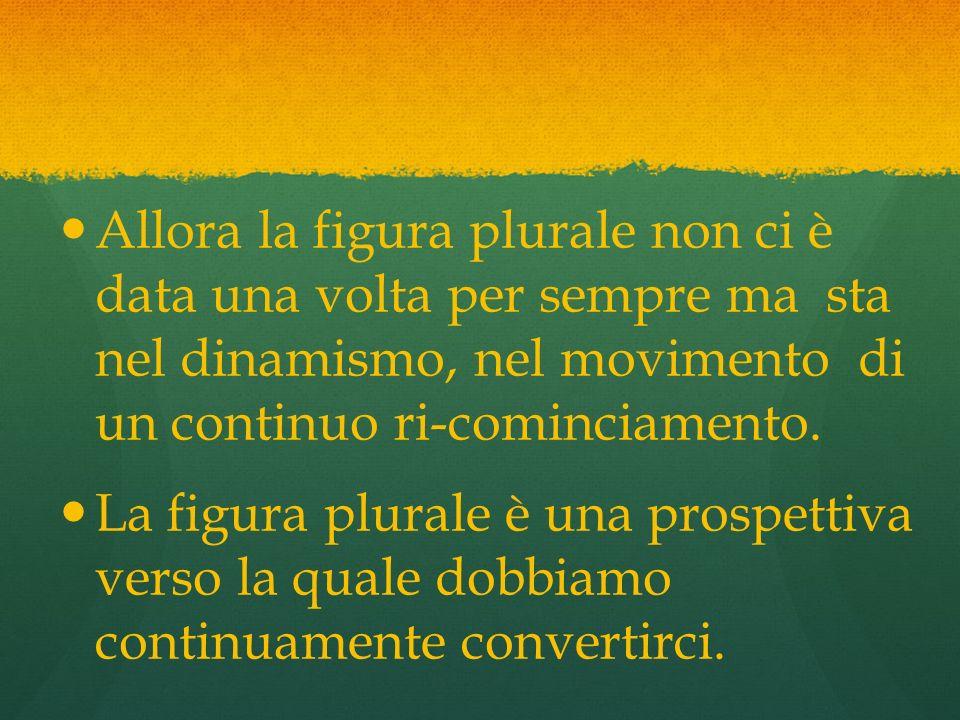 Allora la figura plurale non ci è data una volta per sempre ma sta nel dinamismo, nel movimento di un continuo ri-cominciamento.