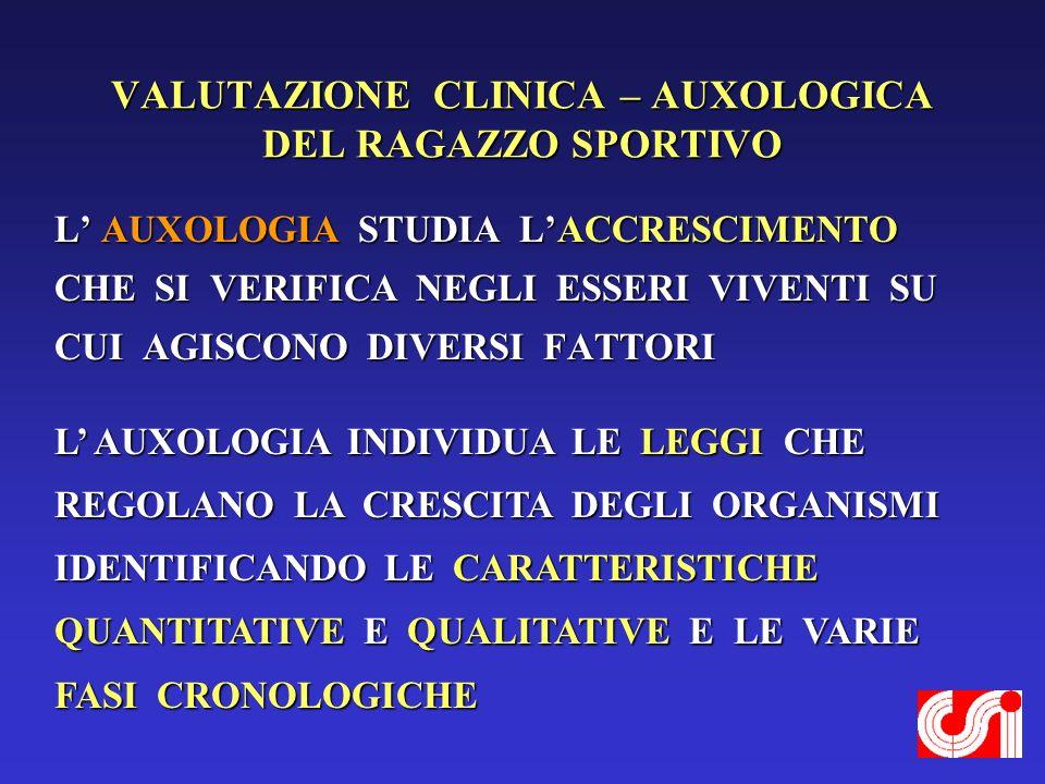 VALUTAZIONE CLINICA – AUXOLOGICA DEL RAGAZZO SPORTIVO