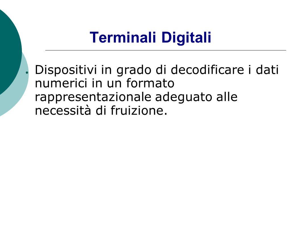 Terminali DigitaliDispositivi in grado di decodificare i dati numerici in un formato rappresentazionale adeguato alle necessità di fruizione.