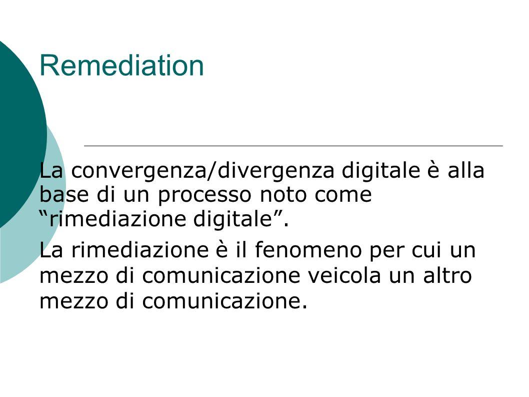 RemediationLa convergenza/divergenza digitale è alla base di un processo noto come rimediazione digitale .