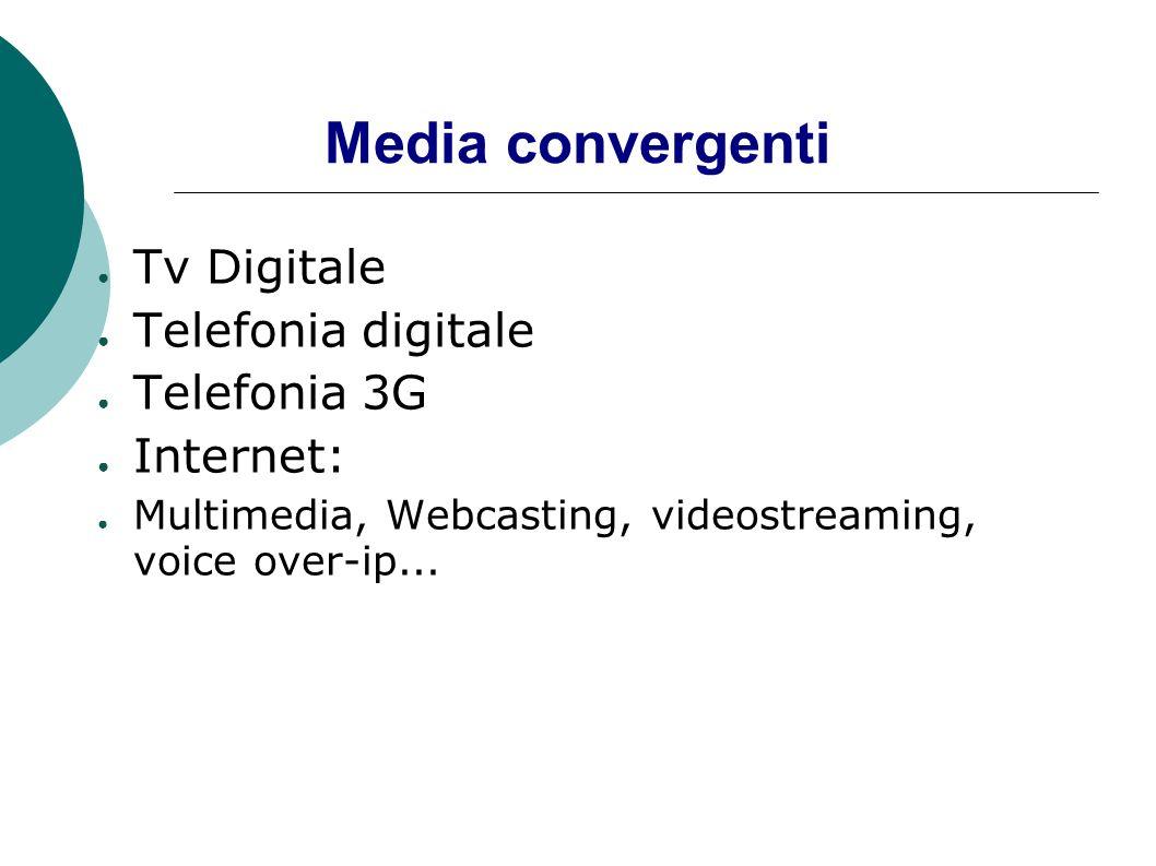 Media convergenti Tv Digitale Telefonia digitale Telefonia 3G