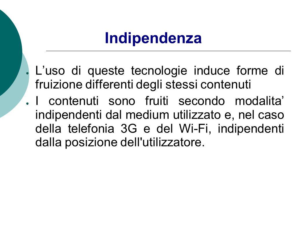 Indipendenza L'uso di queste tecnologie induce forme di fruizione differenti degli stessi contenuti.