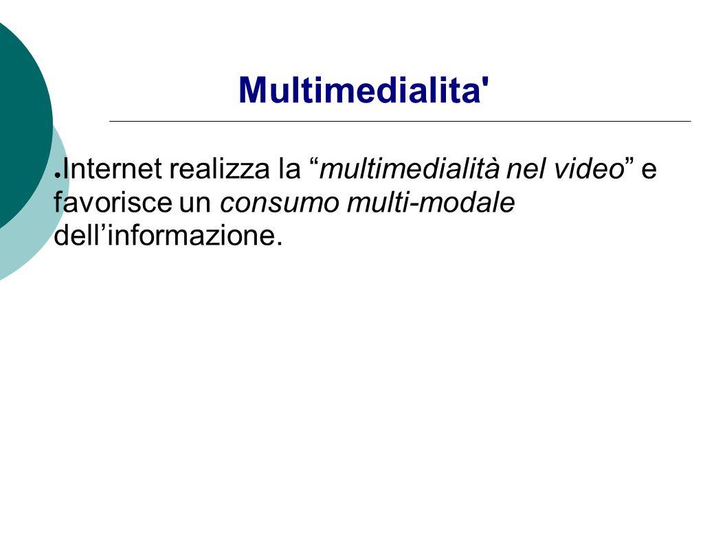 Multimedialita Internet realizza la multimedialità nel video e favorisce un consumo multi-modale dell'informazione.
