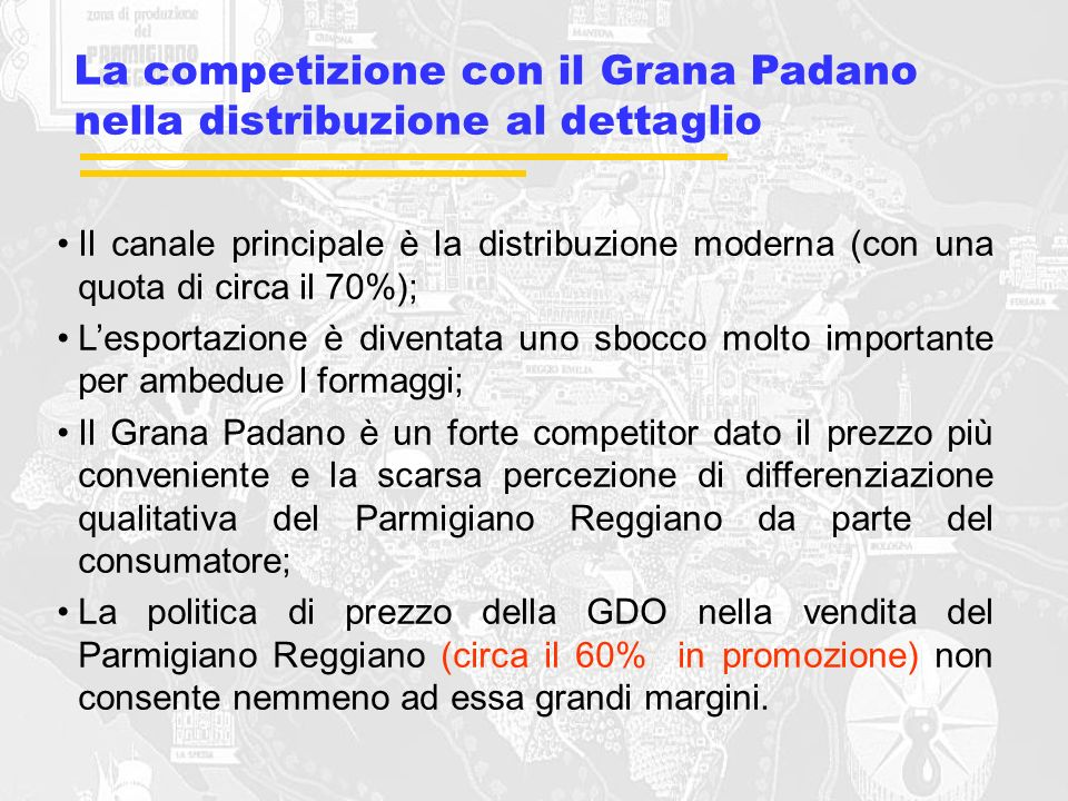 La competizione con il Grana Padano nella distribuzione al dettaglio